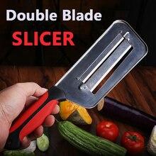 Shuoji slicer vegetal duplo 2 fatia lâmina de corte faca peixe escala facas mais limpas repolho pepino cenoura cortador cebola descascador