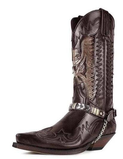 جديد موضة الشتاء بولي حذاء حذاء رجالي جلد الركبة عالية سستة الرجال مصمم الأحذية طرز ركوب كعوب منخفضة Zapatos دي Hombre KS165