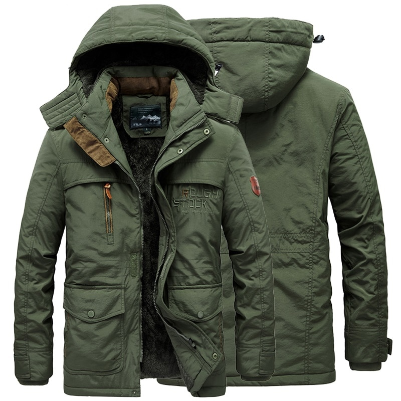 new mens winter cotton padded long coat black hooded parka thick warm casual plus size m xxxxxl u73 Male Windbreaker Thermal Outerwear Winter Mens Military Jacket Thick Warm Hooded Men Parka Coat Casual Fleece Cotton Padded
