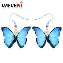 WEVENI Acrylic Blue Morpho Butterfly Earrings Big Insect Animal Dangle Drop Jewellery For Women Girl