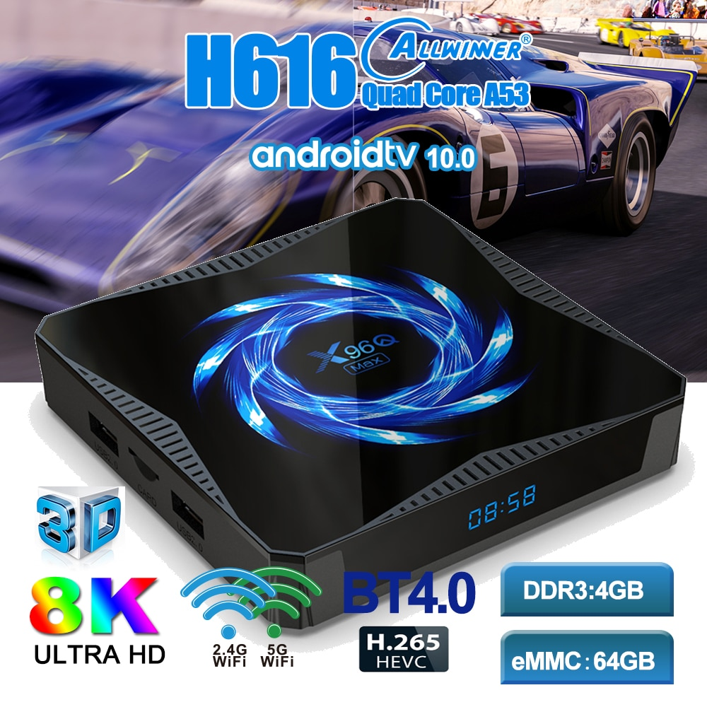 ILEPO جديد X96Q ماكس صندوق التلفزيون أندرويد 10.0 Allwinner H616 4GB RAM 64GB ROM 2.4G/5.0G واي فاي BT5.0 4K مشغل الوسائط X96Qmax مجموعة صندوق