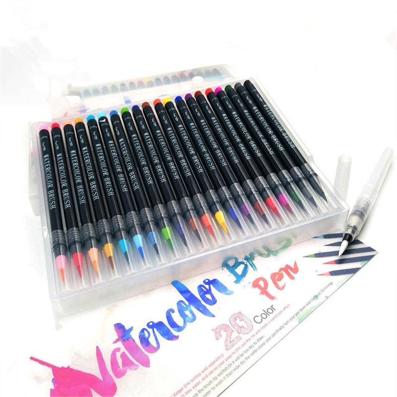 20 Color Watercolor Painting Markers Pen Premium Soft Brush Pen Set Coloring Books Manga Comic Calligraphy Art Marker