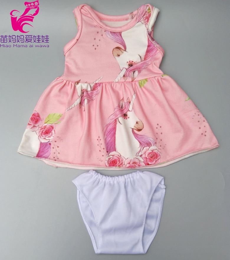"""Se encaixa para 43cm bebês boneca vestido rosa unicórnio padrão boneca vestido cuecas para 18 """"bebê meninas boneca acessórios brinquedos roupas"""