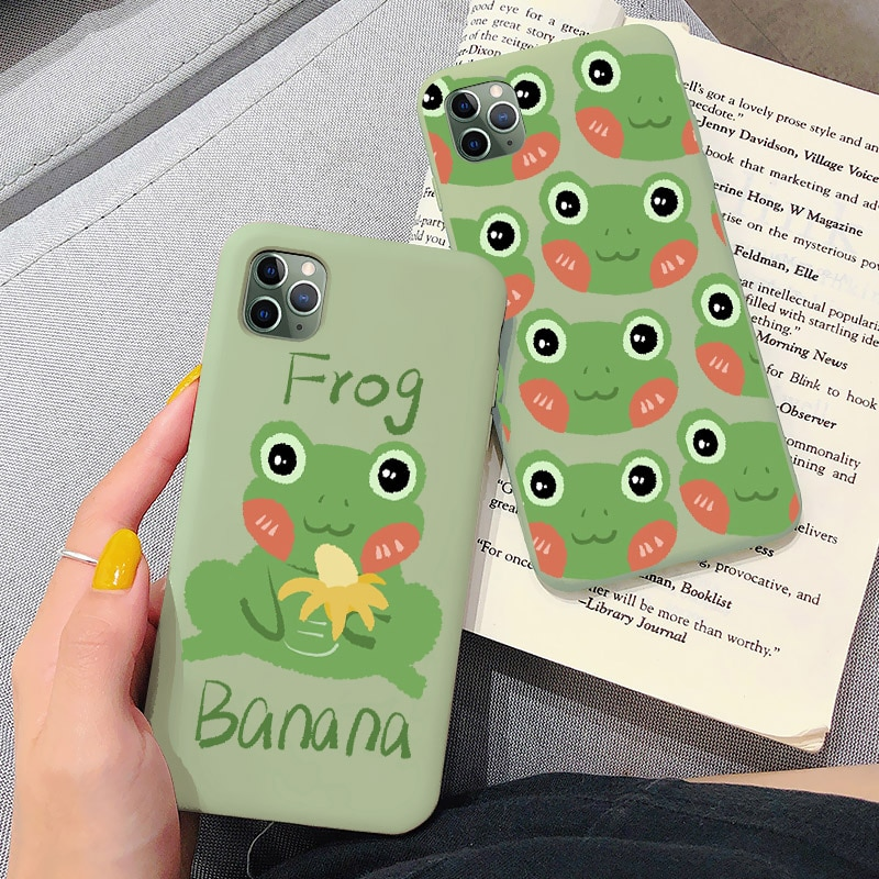 Verde menta teléfono caso para iPhone XR XS MAX X 6S 6 7 8 Plus 11 pro MAX SE 2020 la rana par de dibujos animados lindo suave TPU caso
