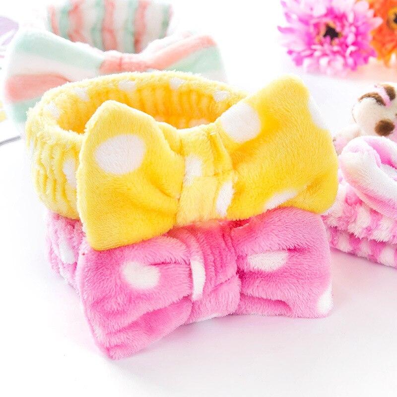 Precioso paquete de mariposas Coral Fleece suave cinta elástica para el pelo SPA baño ducha hacer para lavar cosmética facial diadema banda para el cabello cabeza