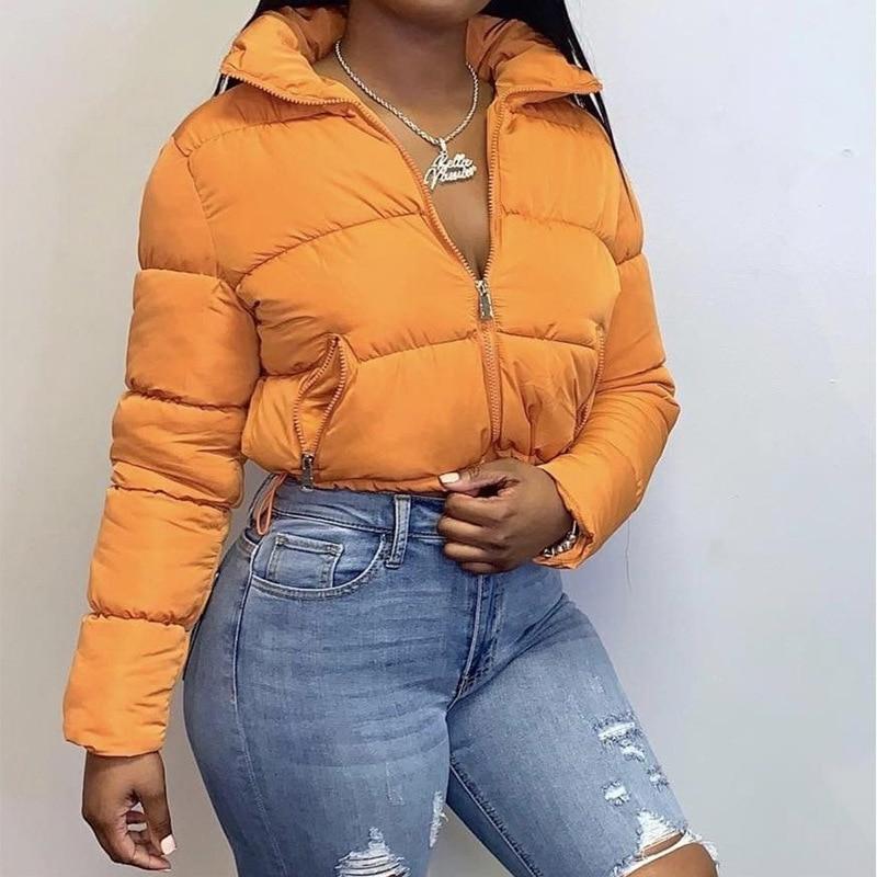 بدوره إلى أسفل طوق القطن النساء السترات معطف الشتاء سترة سستة مع جيوب المرأة سترة دافئة مبطن معطف للنساء 2021