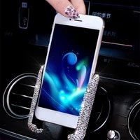 crystal diamond universal car phone holder bling rhinestone car air vent mount stand mobile phone holder for iphone samsung