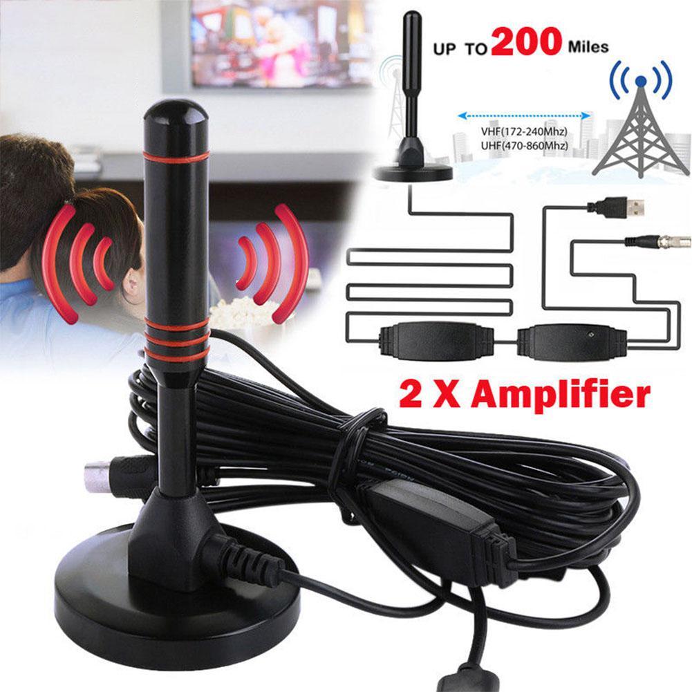 Antena TWISTER.CK para HDTV Digital de interior, antena aérea amplificada, rango de 200 millas, VHF UHF Freeview