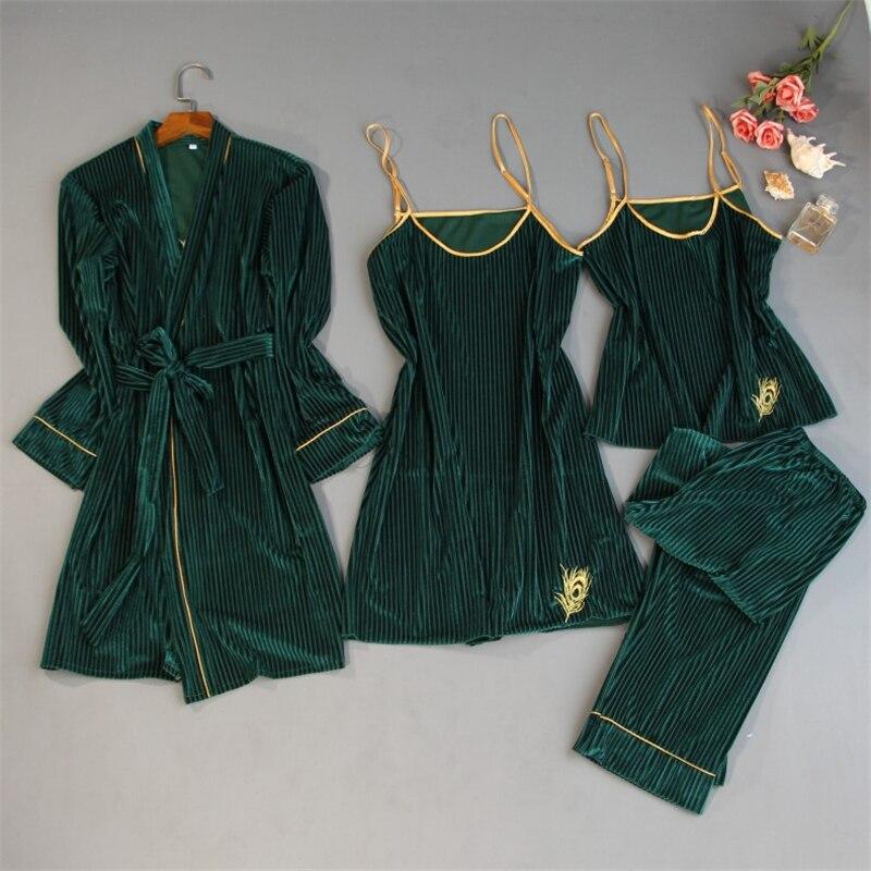 Пижамный комплект Женский темно-зеленый, одежда для сна, домашняя одежда, теплый мягкий бархатный пижамный комплект, ночная рубашка, 4 шт.
