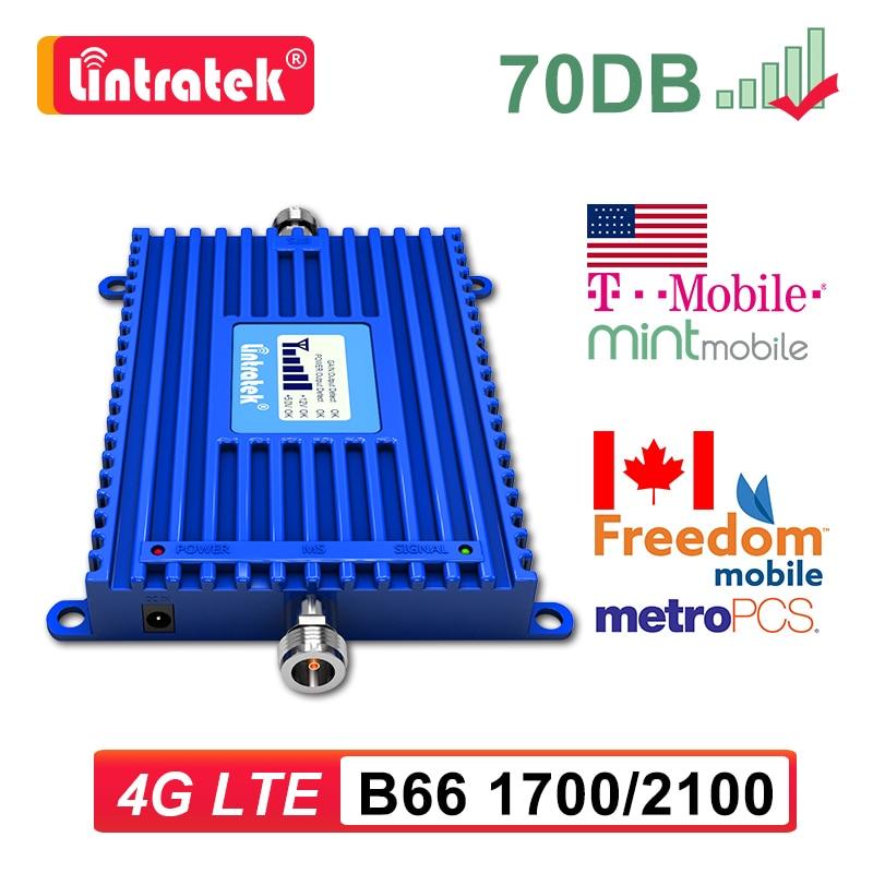 Lintratek LTE B66 1700/2100 4G هاتف محمول الداعم إشارة الإنترنت 1700 MHZ مكبر للصوت المحمول مكرر الاتصالات البيانات الولايات المتحدة CA