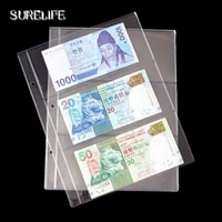 10PCS Lot 2 3 4 line Page banknotes money transparent PVC page of paper money coin album loose-leaf inners of Coin Money holders