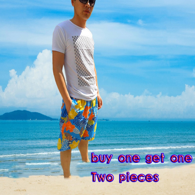 2021 summer men's surfing shorts beach pants casual five-point shorts surfing Bermuda Printed men suitable for all ages
