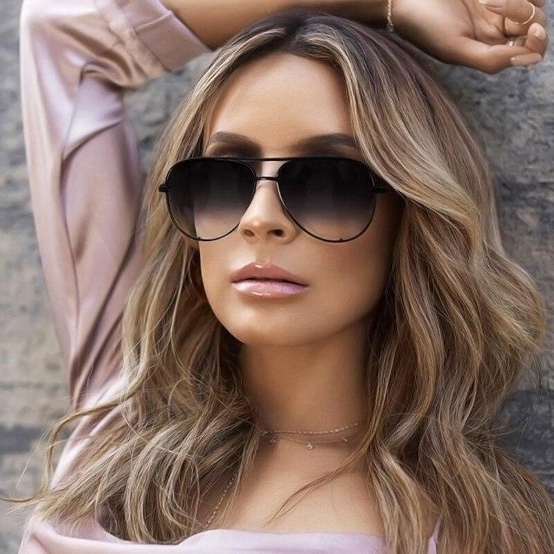 Солнечные очки-авиаторы зеркальные женские, брендовые дизайнерские винтажные модные солнечные очки в большой оправе, крутые пикантные, чер...