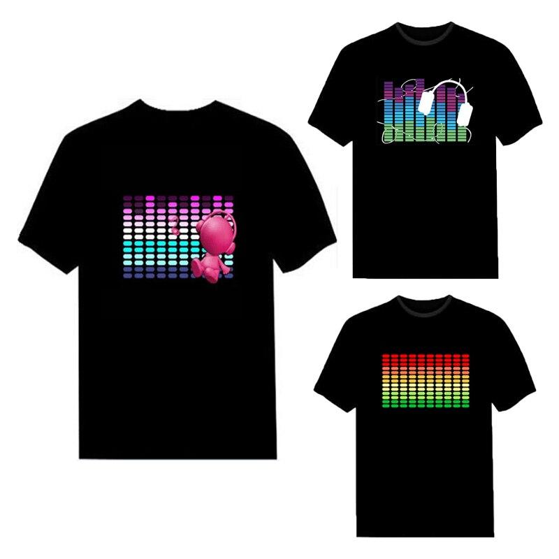 Модная светящаяся футболка для мужчин и женщин, звуковая активация, светодиодная футболка, летние вечерние футболки с коротким рукавом, рок диско, DJ, светящаяся футболка