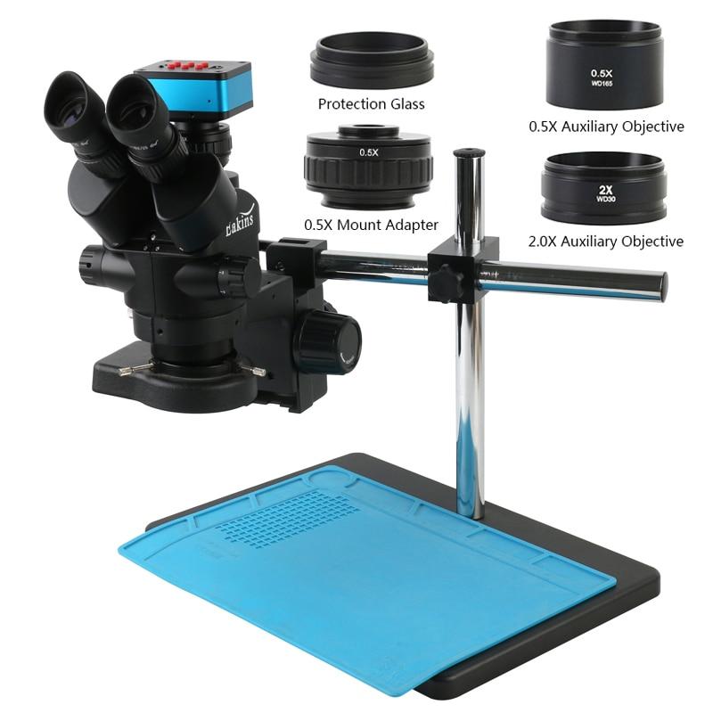 مجهر ستريو ثلاثي العينيات ، محاكي البعد البؤري الموضوعي ، 3.5 ×-90 × ، SONY IMX117 UHD 4K 12 ميجابكسل ، فيديو USB ، HDMI ، كاميرا البحث العلمي