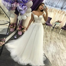 BRITNRY A Line Lace Beach Wedding Dress 2020 High Quality Cheap Long V Neck Vestido De Noiva Appliques Plus Size