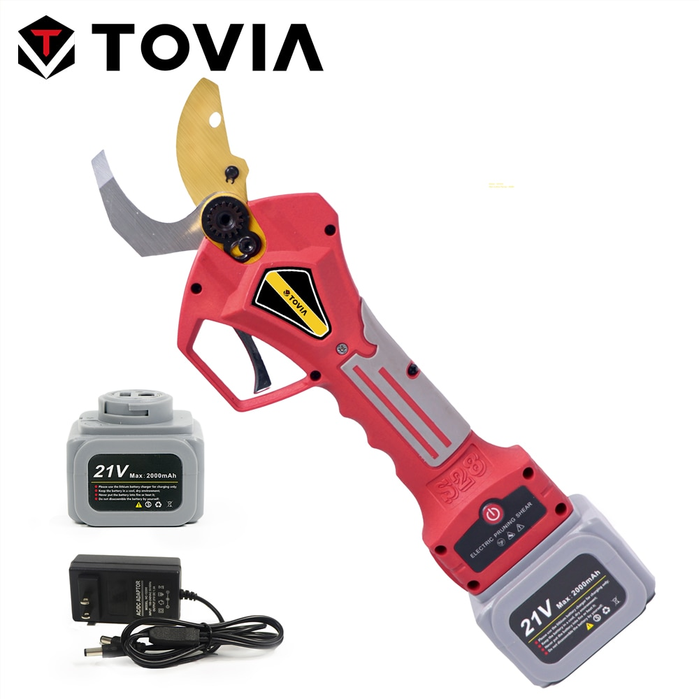 TOVIA 16.8V/21V Electric Pruning Shears 400W Brushless Cordless Prunner Lithium Powered Fruit Tree Bonsai Pruning with 2 Battery
