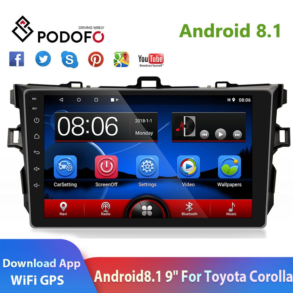 Автомобильная магнитола Podofo 2din, 9 дюймов, Android 8,1, 2.5D стекло, gps, Navi, мультимедиа, Wi-Fi, аудио, для Toyota Corolla 2006-2017