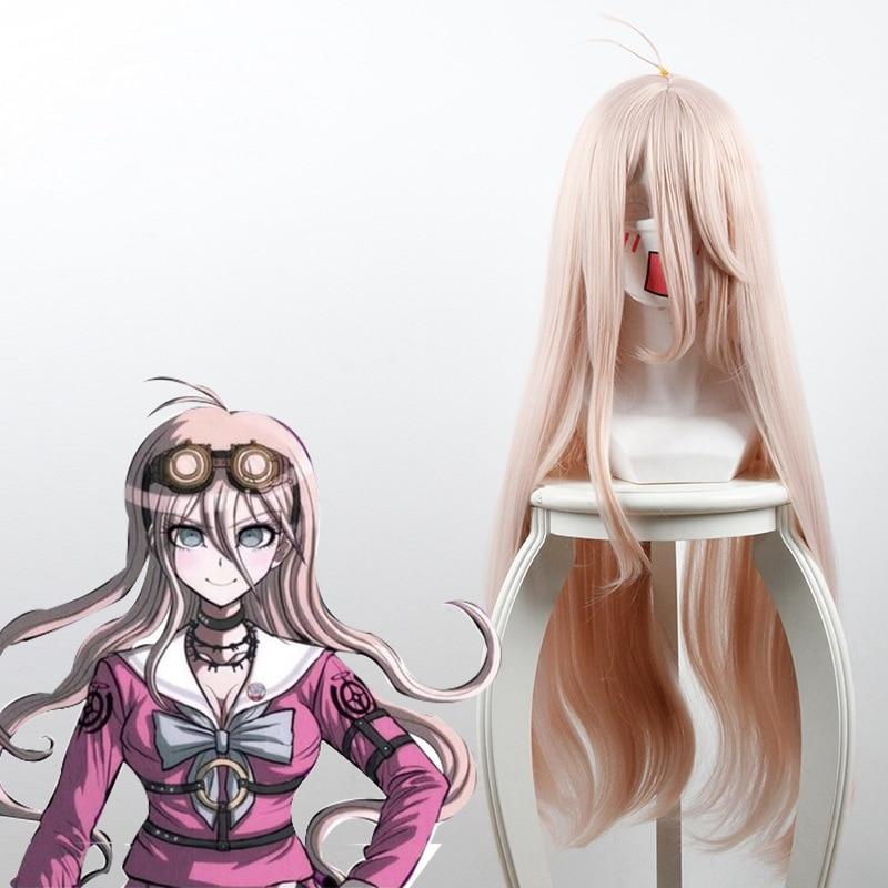 Danganronpa v3 matando harmonia iruma miu peruca 80cm longa reta cosplay peruca para anime fantasia festa peruca jogo halloween