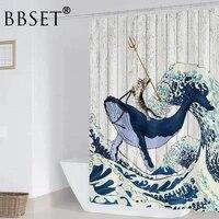 Rideau de douche motif animaux amusants  motif de promenade de chat dans une baleine pour se battre  impermeable  multi-tailles  decor de salle de bain avec crochets