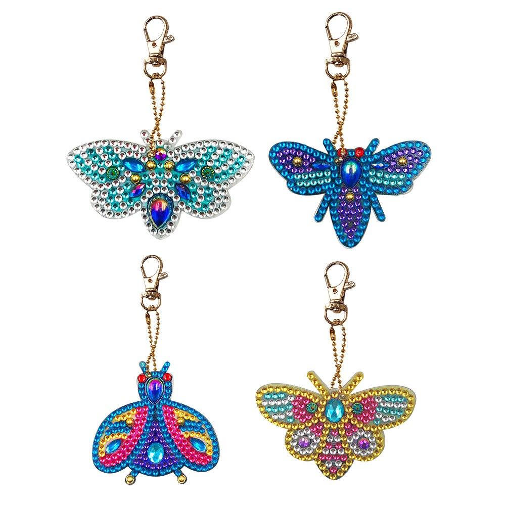 Moda chaveiros diy broca cheia especial em forma de pintura diamante bonito abelha phenix chaveiro pingentes sacos ornamentos pendurados