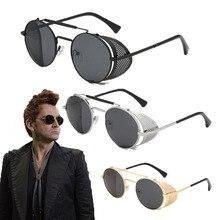 Gafas de sol redondas de Metal para hombre y mujer, lentes de sol con diseño de Diablo, Crowley, David, Tennant, Retro, Steampunk
