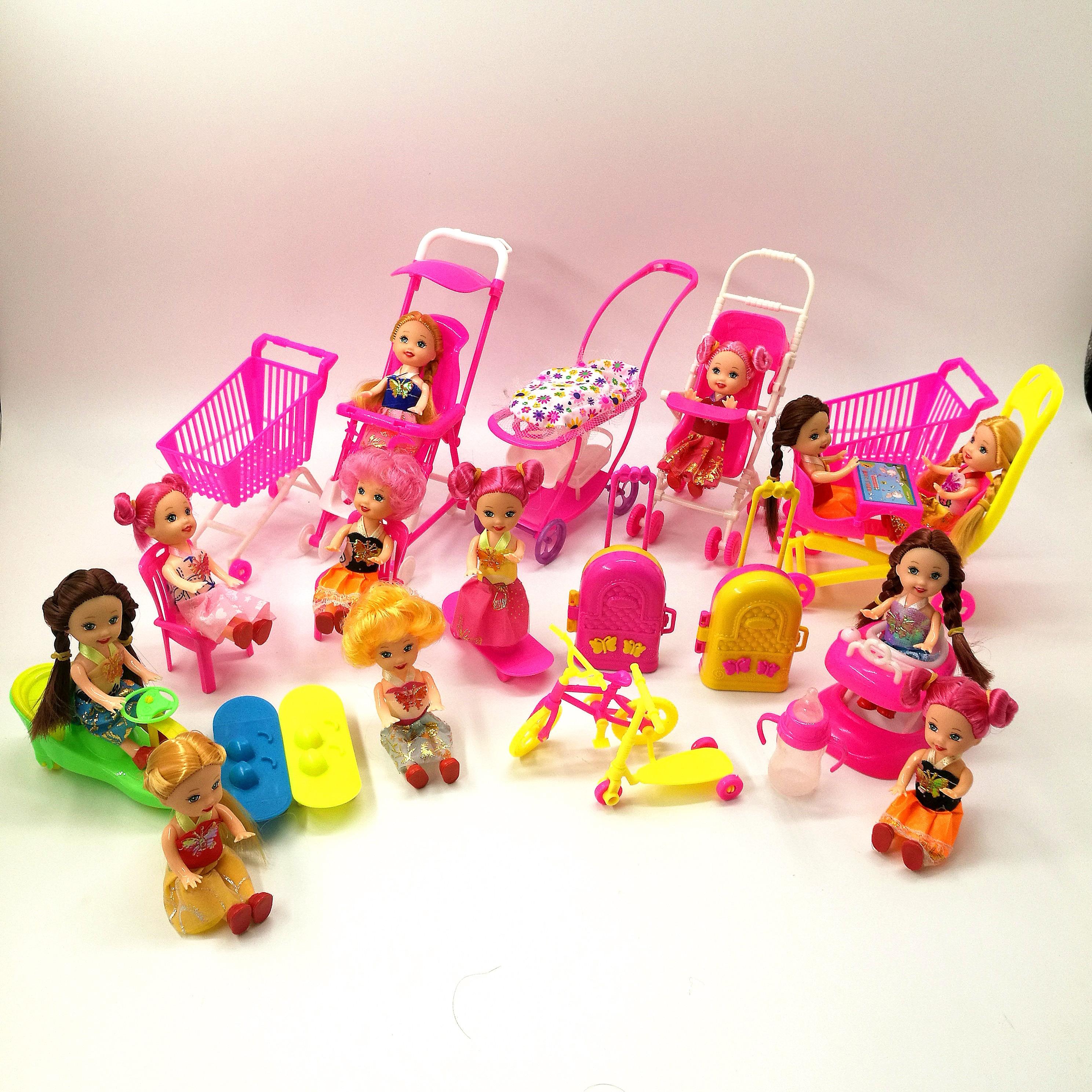Микс Милая кукольная мебель ролевые игры вешалки для игрушек Детская коляска обувь для куклы Барби для Келли кукольный домик аксессуары Иг...