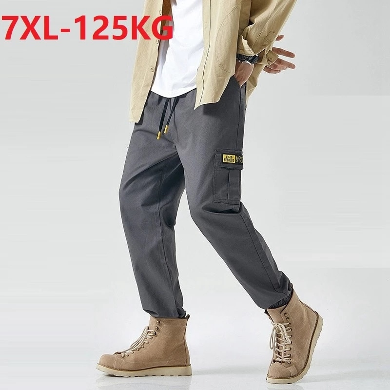 summer Men cargo pockets pants korea style elasticity pencil pants large size 6XL 7XL casual skateboard pants elasticity