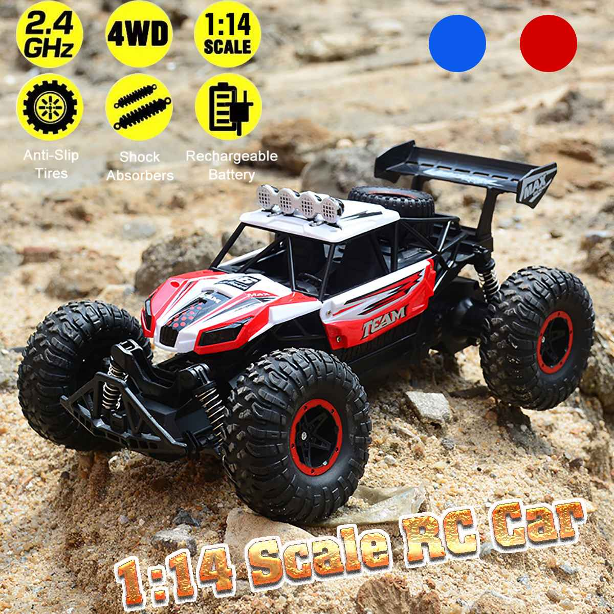 1:14 48KM/H 2.4G Machines Remote Control Model Vehicle Kids Electric RC Car Gift Climbing Big Tire Off Road Truck High Speed
