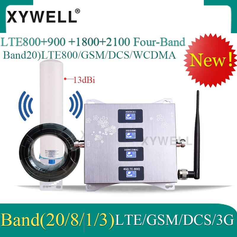 4g 800/900/1800/2100mhz amplificador de móvil de cuatro bandas amplificador de señal de móvil GSM Booster 2G 3G 4G LTE repetidor celular
