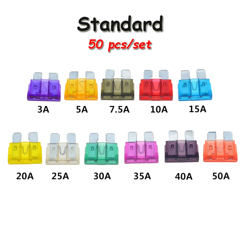 50 pçs/lote, fusível para carro tamanho médio 1a, 2a, 3a, 5a, 7.5a, 10a, 15a, 20a, 25a, 30a, 35a, 40a, 50a
