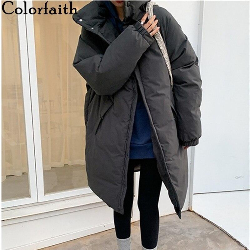 Colorfaith-معطف نسائي, معطف جديد موديل 2021 شتوي ربيعي مع جيوب ياقة مرتفعة جودة عالية معطف طويل دافئ CO850