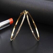 Nouvelle mode boucle doreille pour les femmes avec cristal strass simple grand cercle Goldr/or Rose/argent couleur cerceau boucles doreilles bijoux cadeau