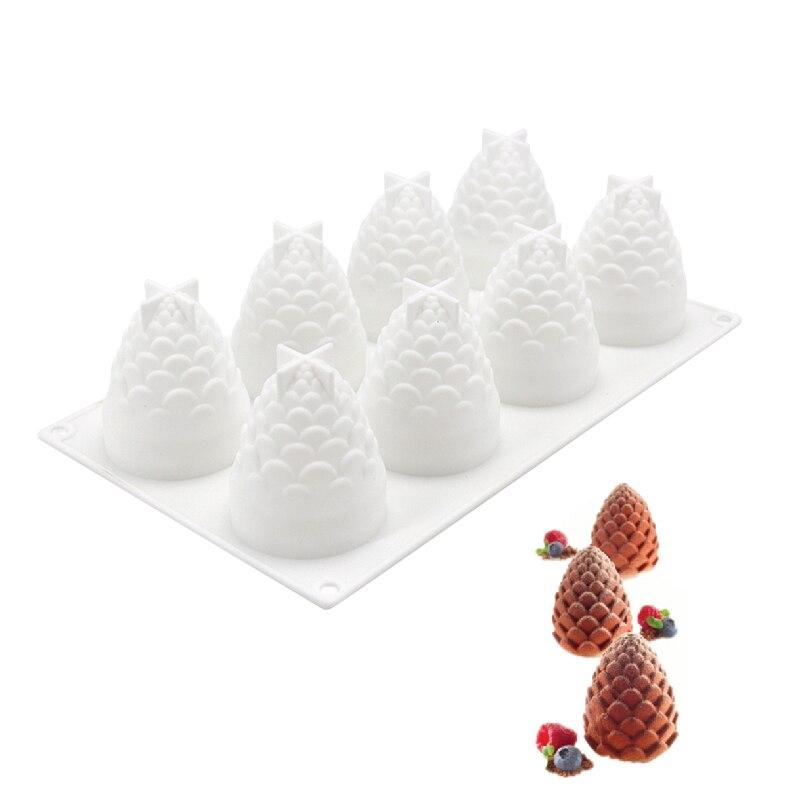Moldes de silicona 3D con 8 agujeros, herramientas para hornear con forma de Pinecones para Tartas, decoración de helado o Mousse, accesorios para hornear