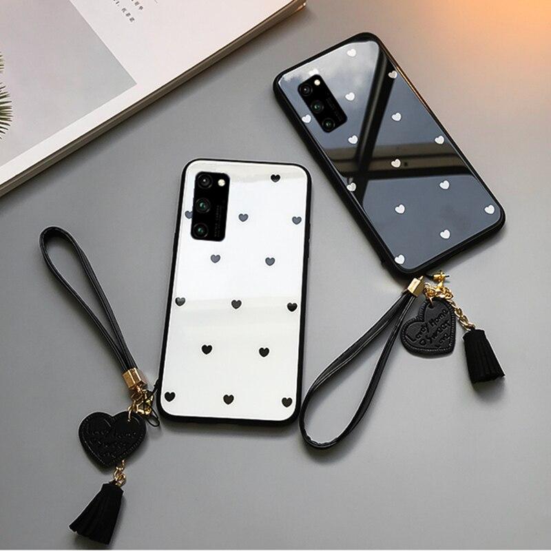 Для samsung Galaxy A71 A51 чехол и бесплатный ремешок маленькое сердце стекло жесткий защитный чехол для телефона для samsung A51 A71 A70 A70S корпус