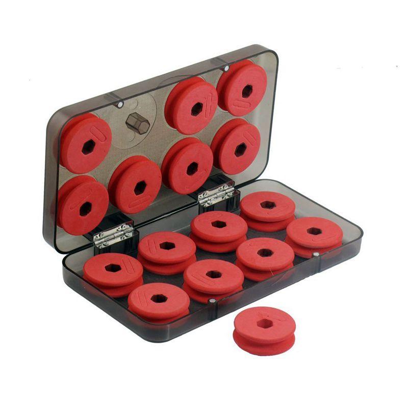 Carretes de bobina X16 de línea de pesca de espuma roja con caja de plástico