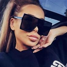 2020 Vintage Fashion Oversized Square Sunglasses Women Luxury Brand Designer Big Frame Flat Top Sun