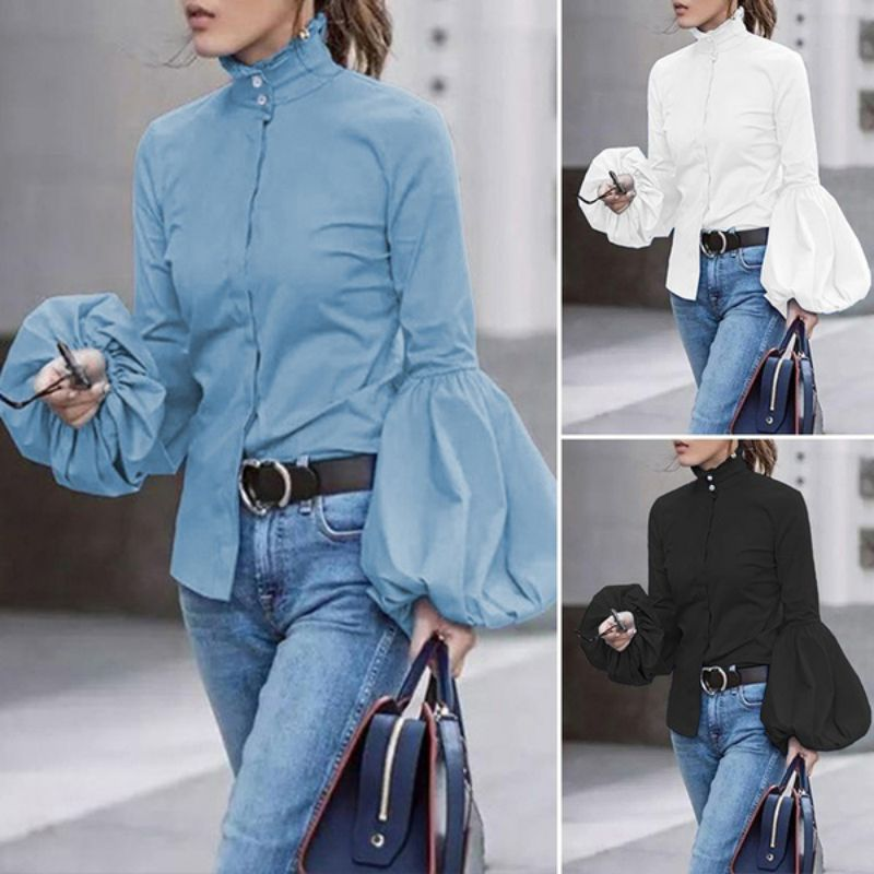 Otoño señoras ancha linterna manga azul blusa mujer botón abajo Camisas Mujer cuello alto camisetas ropa