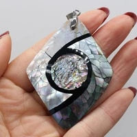natural shell pendant crack splicing abalone shell pendant natural mother of pearl shell charms for jewelry diy making 47x60mm