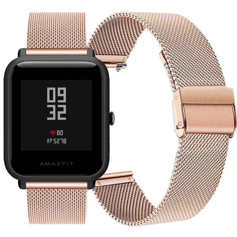 Correa de acero inoxidable para Xiaomi Huami Amazfit Bip, pulsera milanesa de...