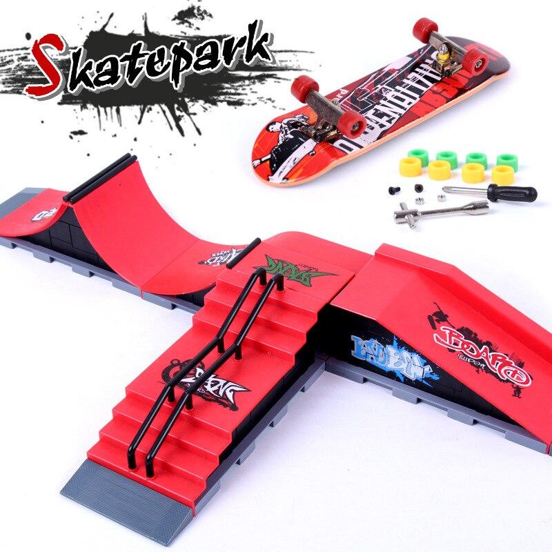 Mini Finger Skateboard Griffbrett Tech Deck Rampe Set Skate Park Rampe Teile Spielzeug für Kinder Jungen