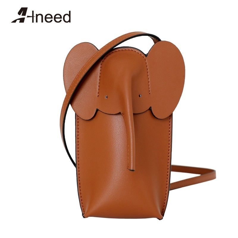 Bolsa de Ombro Alneed Luxo Designer Bolsas Mini Elefante Crossbody Bolsa Bonito Lateral Couro Genuíno Aleta Pouco
