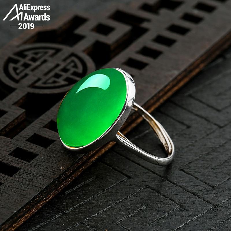 10*14mm 6,18 venta S925 plata esterlina Australia Esmeralda anillos Jade moldevita Chinatown oriental Retro Calcedonia Jade