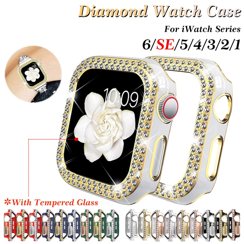 case for apple watch se 6 5 4 3 2 1 38mm 40mm watch cover protective case carbon fiber pattern pc case for iwatch 6 se 42mm 44mm Diamonds Watch Case for Apple Watch 38mm 40mm 42mm 44mm Cover Bling Protective Cover PC Case for SE iWatch Series 6 5 4 3 2 1