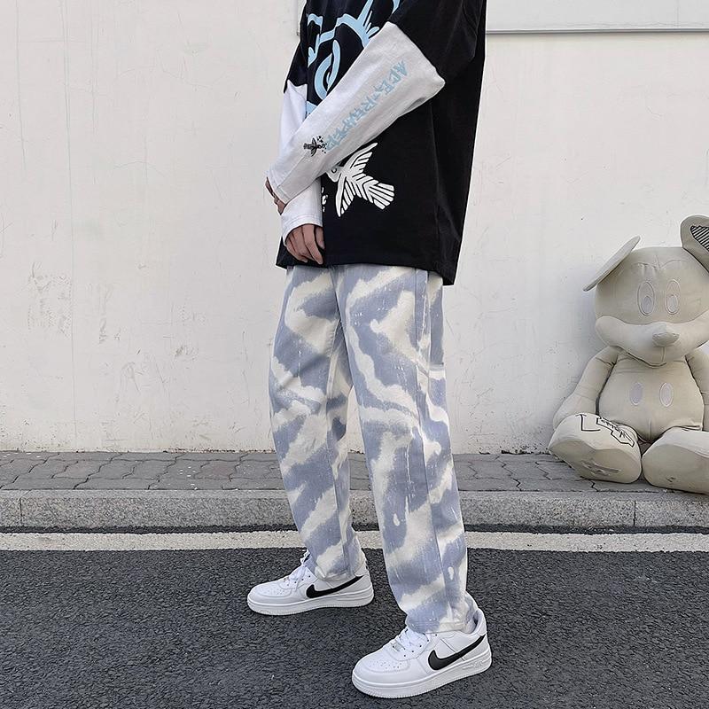 Новинка 2021, стильные Весенние и весенние мужские спортивные повседневные широкие джинсы в стиле хип-хоп с поясом на резинке