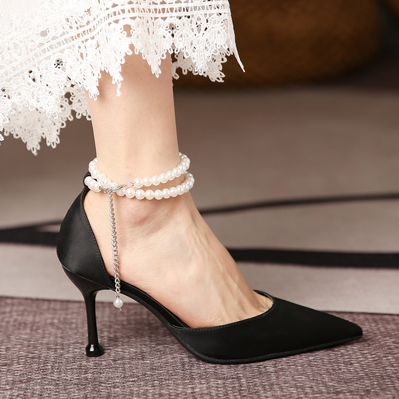 Luxury Women Pumps Mother's Day Gift 2021 High Heels Pointed Toe Bead Slip-on Wedding Party Brand Fashion Shoes For Lady Size