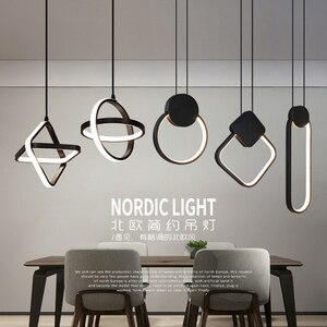 Nordic creative LED lighting dining room chandelier modern minimalist living room bedside bedroom dining table bar ring lamp