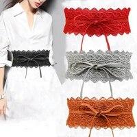 new black white wide corset lace belt female self tie waistband belts for women wedding dress waist band accessories