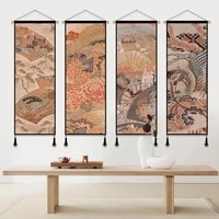 japanese ukiyoe crane wall art canvas paintings print picture and poster living room decor hanging scroll painting wall tapestry