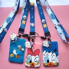 Disney dessin animé Donald canard Daisy étudiant Campus carte suspendus cou sac porte-carte lanière carte didentité repas carte ornement sac